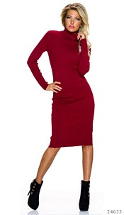 Long-Sleeved-Dress Red