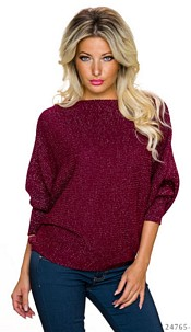 Knitted-Pullover Wine-Red