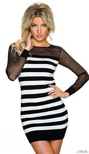 Long-Sleeved-Minidress Black / White