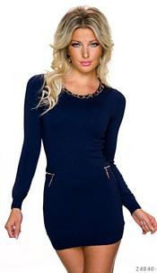 Long-Sleeved-Minidress Dark-Blue