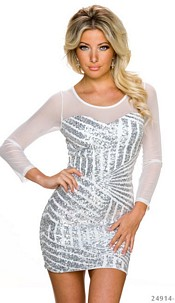 Long-Sleeved-Minidress White / Silver