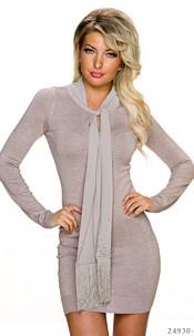 Long-Sleeved-Minidress Beige
