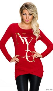Long-Sleeved-Minidress Red