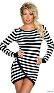 Long-Sleeved-Minidress Black / White