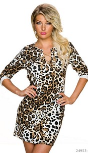 Long-Sleeved-Minidress Leopard