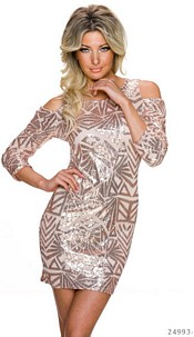 Pailletten-Mini-Dress Copper