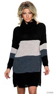 Knitted-Mini-Dress Mixed / Black