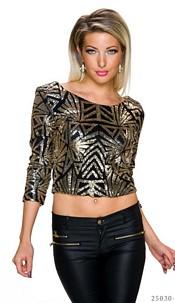 Pailletten-Shirt Zwart / Goud