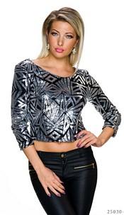 Pailletten-Shirt Zwart / Zilver