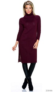Knitted-Dress Wine-Red