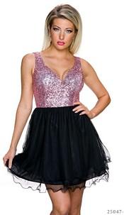 Volant-Mini-Dress Pink / Black
