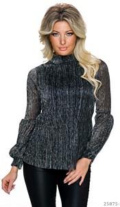 Long-Sleeved-Shirt Black / Silver