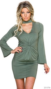 Long-Sleeved-Minidress Olive